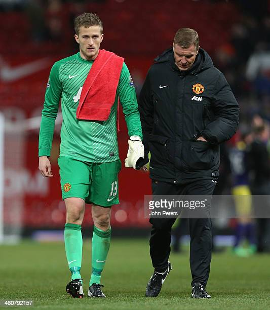 Anders Lindegaard of Manchester United walks off after during the FA Cup Third Round match between Manchester United and Swansea City at Old Trafford...