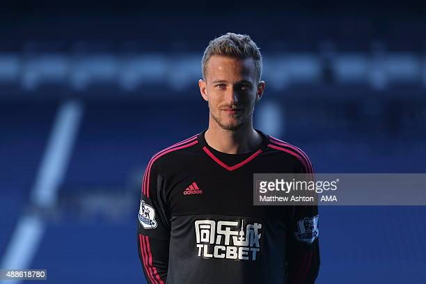 Anders Lindegaard of West Bromwich Albion during the West Bromwich Albion photocall at West Bromwich Albion Training Ground on September 15 2015 in...