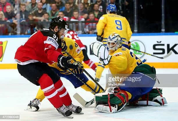 Anders Nilsson goaltender of Sweden blocks a shot of Tyler Seguin of Canada during the IIHF World Championship group A match between Sweden and...