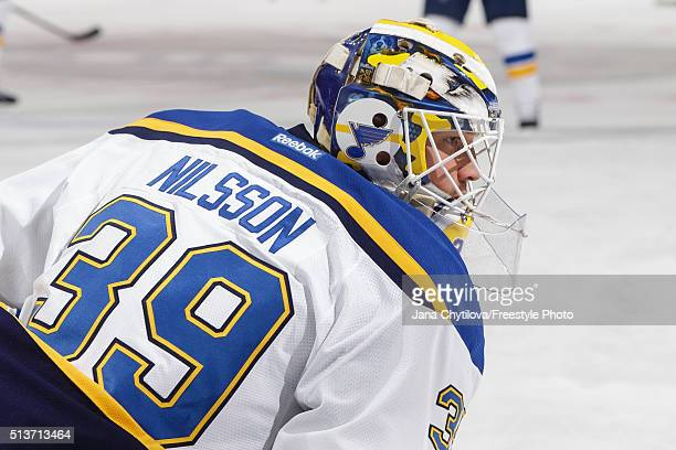 Anders Nilsson of St Louis Blues looks on during warmups prior to an NHL game against the Ottawa Senators during an NHL game at Canadian Tire Centre...