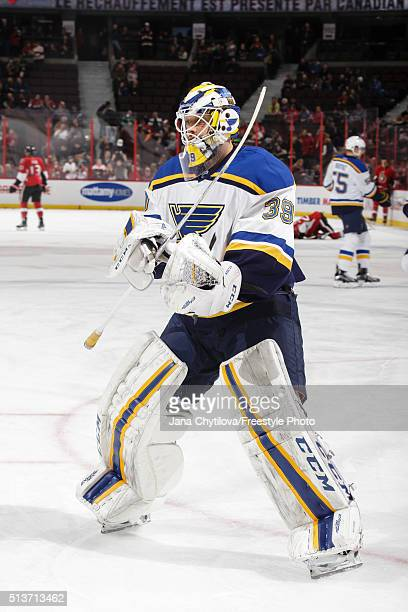 Anders Nilsson of St Louis Blues skates during warmups prior to an NHL game against the Ottawa Senators during an NHL game at Canadian Tire Centre on...