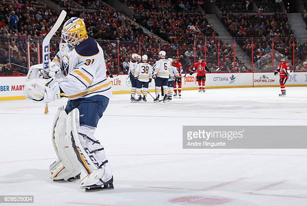 Anders Nilsson of the Buffalo Sabres enters the game against the Ottawa Senators after starting goaltender Robin Lehner leaves with an injury at...