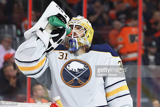 Anders Nilsson of the Buffalo Sabres looks on against the Philadelphia Flyers during the first period at Wells Fargo Center on October 25 2016 in...