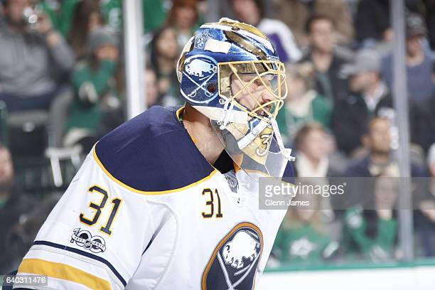 Anders Nilsson of the Buffalo Sabres tends goal against the Dallas Stars at the American Airlines Center on January 26 2017 in Dallas Texas