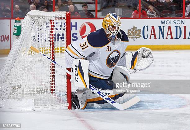 Anders Nilsson of the Buffalo Sabres tends net against the Ottawa Senators at Canadian Tire Centre on November 29 2016 in Ottawa Ontario Canada