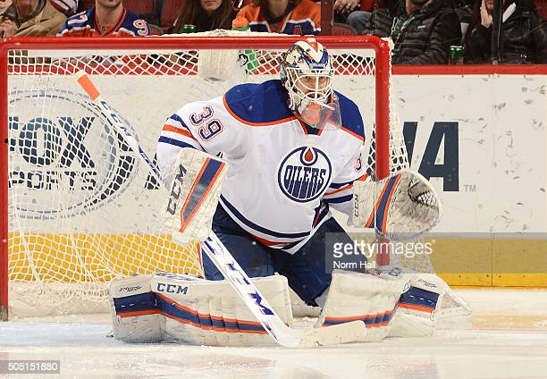 Anders Nilsson of the Edmonton Oilers gets ready to make a save against the Arizona Coyotes at Gila River Arena on January 12 2016 in Glendale Arizona