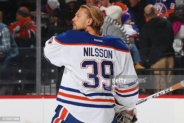 Anders Nilsson of the Edmonton Oilers skates against the New York Islanders at the Barclays Center on February 7 2016 in Brooklyn borough of New York...