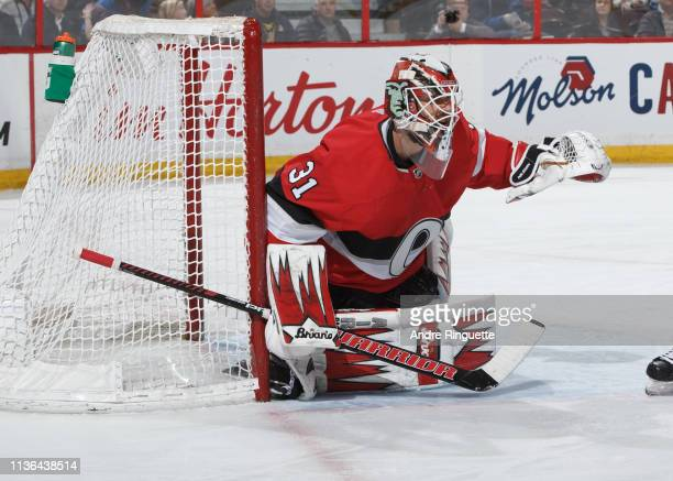 Anders Nilsson of the Ottawa Senators tends net against the St Louis Blues at Canadian Tire Centre on March 14 2019 in Ottawa Ontario Canada