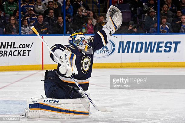 Anders Nilsson of the St Louis Blues defends the net against the Washington Capitals at the Scottrade Center on April 9 2016 in St Louis Missouri