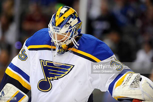 Anders Nilsson of the St Louis Blues tends the net against the Colorado Avalanche during the third period of the Blues' 51 win The Colorado Avalanche...