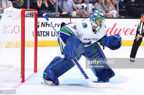 Anders Nilsson of the Vancouver Canucks defends the net during a game against the Los Angeles Kings at STAPLES Center on September 16 2017 in Los...