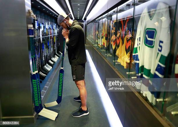 Anders Nilsson of the Vancouver Canucks focuses before their NHL game against the Washington Capitals at Rogers Arena October 26 2017 in Vancouver...