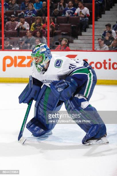 Anders Nilsson of the Vancouver Canucks guards his net against the Ottawa Senators at Canadian Tire Centre on October 17 2017 in Ottawa Ontario Canada