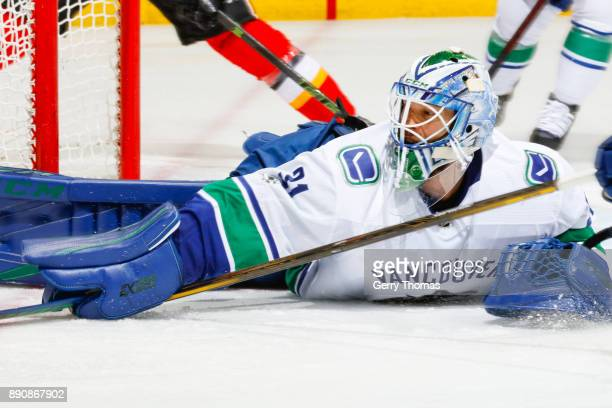 Anders Nilsson of the Vancouver Canucks in a NHL game against the Vancouver Canucks at the Scotiabank Saddledome on December 09 2017 in Calgary...