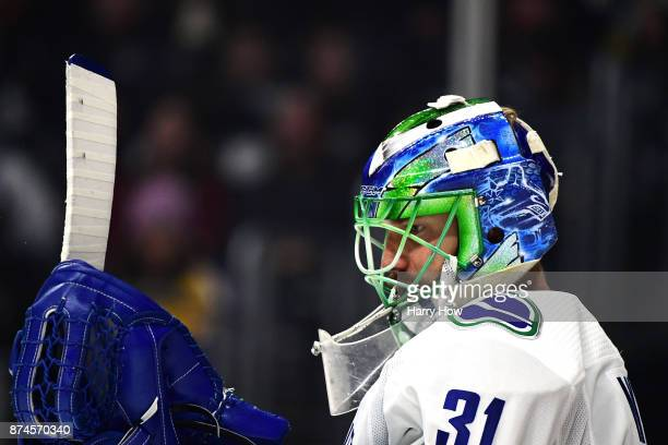 Anders Nilsson of the Vancouver Canucks in goal against the Los Angeles Kings at Staples Center on November 14 2017 in Los Angeles California