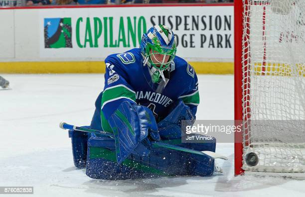 Anders Nilsson of the Vancouver Canucks makes a save during their NHL game against the St Louis Blues at Rogers Arena November 18 2017 in Vancouver...