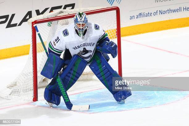 Anders Nilsson of the Vancouver Canucks skates against the New York Islanders at Barclays Center on November 28 2017 in New York City New York...