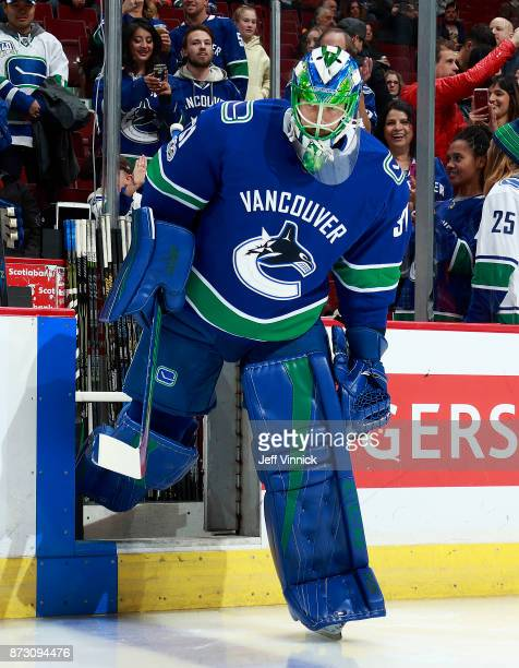 Anders Nilsson of the Vancouver Canucks steps onto the ice during their NHL game against the Pittsburgh Penguins at Rogers Arena November 4 2017 in...