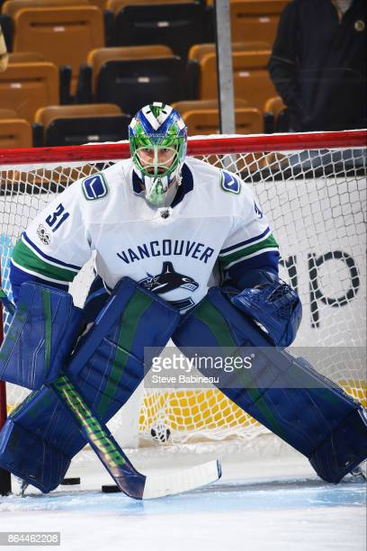 Anders Nilsson of the Vancouver Canucks warms up before the game against the Boston Bruins at the TD Garden on October 19 2017 in Boston Massachusetts