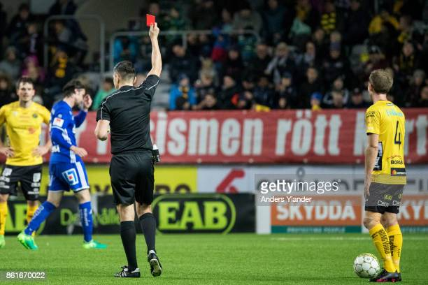 Anders Randrup of IF Elfsborg receives a red card by Bojan Pandzic, the referee during the Allsvenskan match between IF Elfsborg and GIF Sundsvall at...
