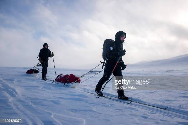 Anders RibbingSiemensen and Hans Olav Kristiansen from Team Brynje of Norway at Expedition Amundsen on March 7 2019 in Eidfjord Norway Expedition...