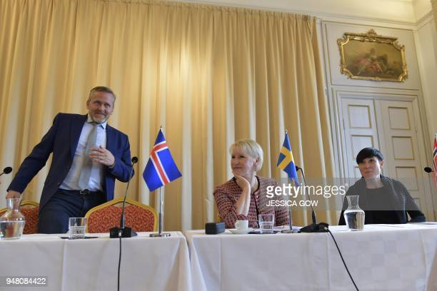 Anders Samuelsen Foreign Minister of Denmark Margot Wallstrom Foreign Minister of Sweden and Ine Eriksen Soreide Foreign Minister of Norway hold a...