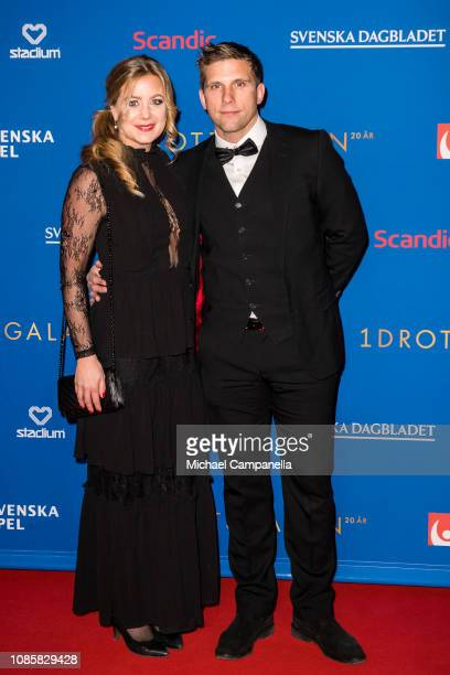 Anders Svensson and wife Emma Johansson walk the red carpet during Idrottsgalan the annual Swedish Sports Awards Gala at the Ericsson Globe Arena on...
