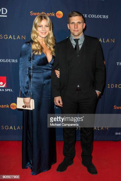 Anders Svensson and wife Emma Johansson walk the red carpet when arriving at Idrottsgalan the annual Swedish sports awards gala held at the Ericsson...
