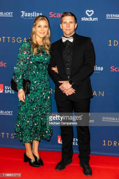 Anders Svensson and wife Emma Svensson pose for a picture on the red carpet during Idrottsgalan the annual Swedish Sports Gala at the Ericsson Globe...