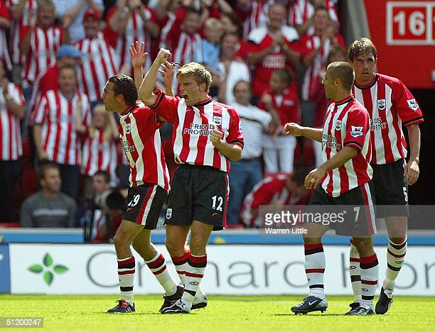 Anders Svensson of Southampton celebrates scoring the second goal during the FA Barclays Premiership match between Southampton Saints and Blackburn...