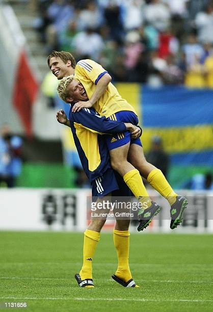 Anders Svensson of Sweden celebrates after the Argentina v Sweden Group F World Cup Group Stage match played at the Miyagi Stadium Miyagi Japan on...