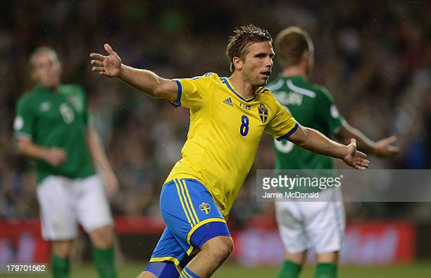 Anders Svensson of Sweden celebrates his goal during the FIFA 2014 World Cup Qualifying Group C match between Republic of Ireland and Sweden at Aviva...