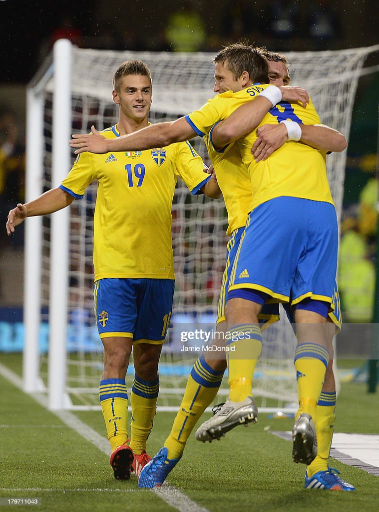 Anders Svensson of Sweden celebrates his goal during the FIFA 2014 World Cup Qualifying Group C match between Republic of Ireland and Sweden at Aviva Stadium on September 6, 2013 in Dublin, Ireland.