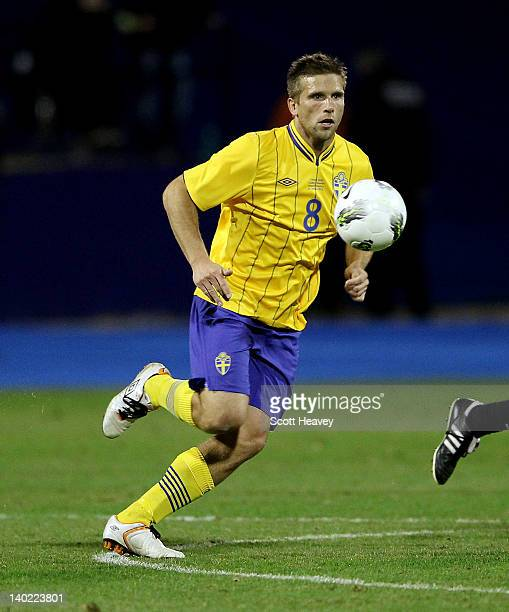 Anders Svensson of Sweden during the International Friendly between Croatia and Sweden at the Maksimir Stadium on February 29 2012 in Zagreb Croatia
