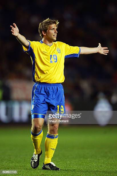 Anders Svensson of Sweden in action during the international friendly match between Portugal and Sweden at The City of Coimbra Stadium on April 28...