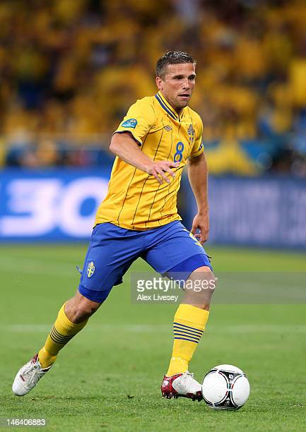 Anders Svensson of Sweden in action during the UEFA EURO 2012 group D match between Sweden and England at The Olympic Stadium on June 15, 2012 in...