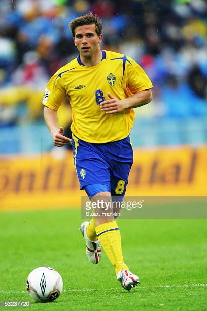 Anders Svensson of Sweden in action during the World Cup 2006 Qualifying match between Sweden and Malta held at the Ullevi Stadium on May 24 2005 in...