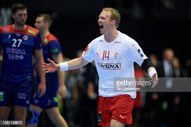 Anders Zachariassen of Denmark celebrate after goal during the IHF Men's World Championships Handball Final between Denmark and Norway in Jyske Bank...