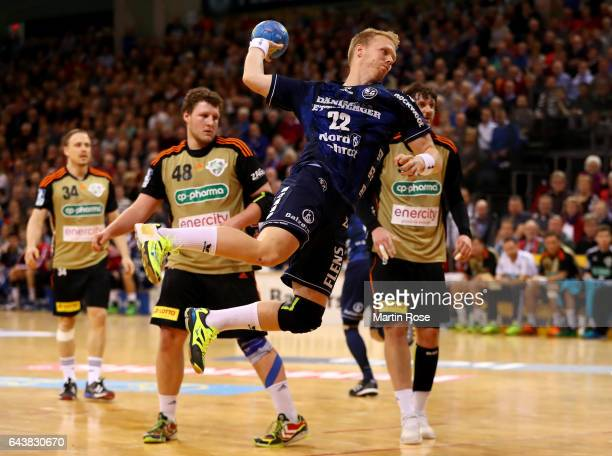 Anders Zachariassen of Flensburg throws at goal during the DKB HBL Bundesliga match between SG FlensburgHandewitt and TSV HannoverBurgdorf on...