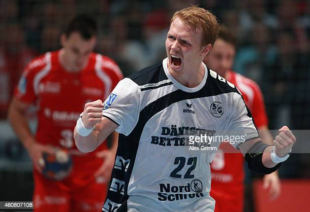 Anders Zachariassen of FlensburgHandewitt celebrates a goal during the DKB Handball Bundesliga match between MT Melsungen and SG FlensburgHandewitt...