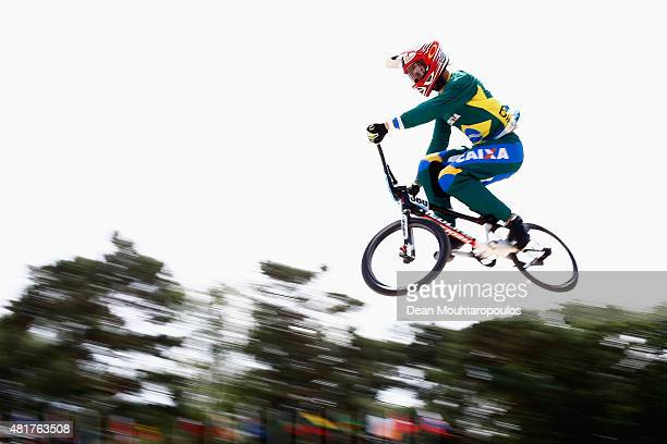 Anderso Ezequiel De Souza Filho of Brazil in action at the Mens Elite training session during day 4 of the UCI BMX World Championships at on July 24,...