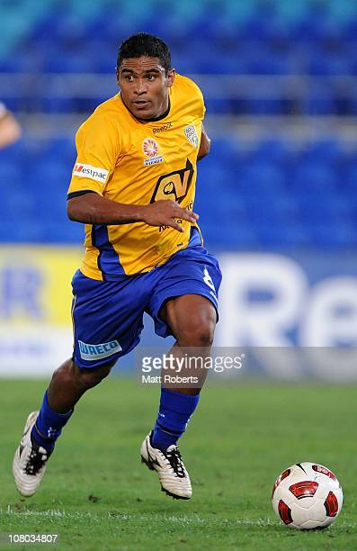 Anderson Alves Da Silva of Gold Coast controls the ball during the round 23 ALeague match between Gold Coast United and the North Queensland Fury at...