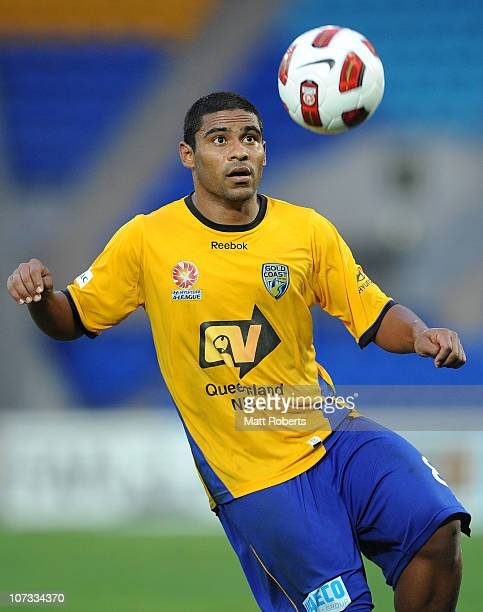 Anderson Alves Da Silva of the Gold Coast attemtpts to control the ball during the round 17 ALeague match between Gold Coast United and the Melbourne...