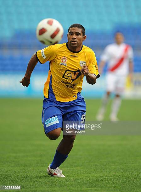 Anderson Alves Da Silva of the Gold Coast chases a wayward pass during the round 17 ALeague match between Gold Coast United and the Melbourne Heart...
