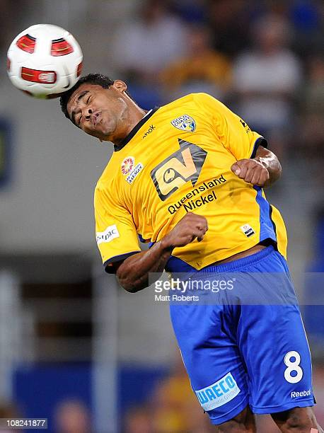 Anderson Alves Da Silva of the Gold Coast heads the ball during the round 24 ALeague match between Gold Coast United and the Newcastle Jets at...
