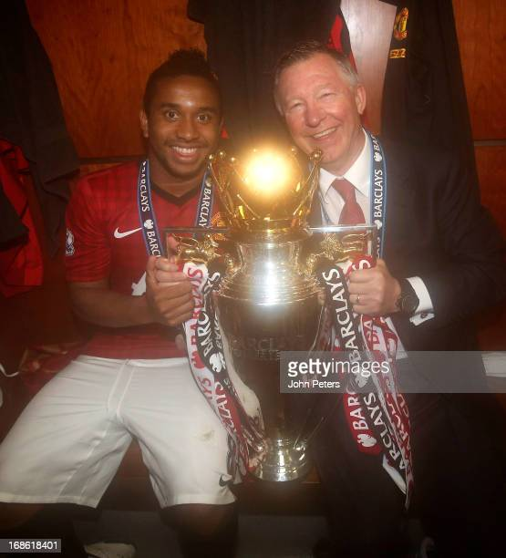 Anderson and Manager Sir Alex Ferguson of Manchester United celebrate with the Barclays Premier League trophy in the dressing room after the Barclays...