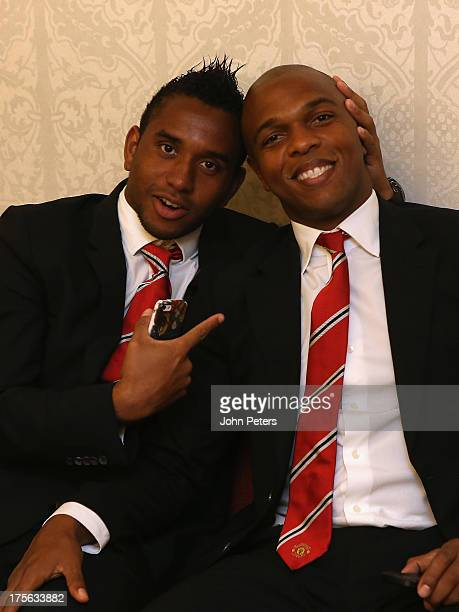 Anderson and Quinton Fortune of Manchester United relax in the departure lounge ahead of their flight to Stockholm to play AIK Fotbol in a preseason...