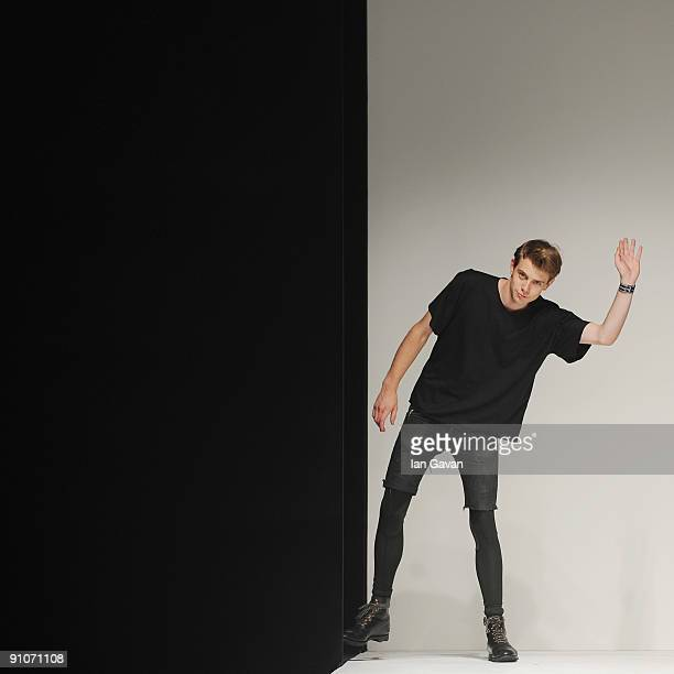 Anderson appears at the end of the catwalk after his fashion show at the BFC tent Somerset House as part of Man at London Fashion Week on September...