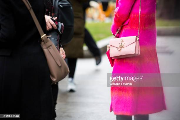 Anderson bag details is seen outside Giorgio Armani show during Milan Fashion Week Fall/Winter 2018/19 on February 24 2018 in Milan Italy