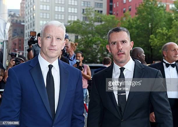 Anderson Cooper and Benjamin Maisani are seen arriving at the 2015 amfAR Inspiration Gala on June 16 2015 in New York City